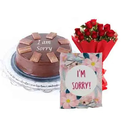 I M Sorry Chocolate Cake With Bouquet & Card