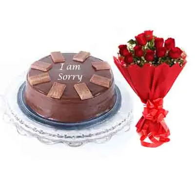 I M Sorry Chocolate Cake With Bouquet