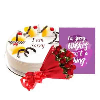 I M Sorry Pineapple Cake With Bouquet & Card