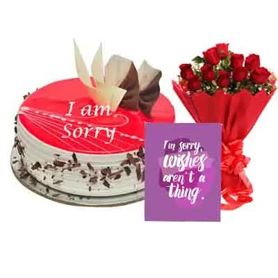 I M Sorry Strawberry Cake With Bouquet & Card
