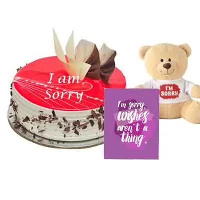 I M Sorry Strawberry Cake With Teddy & Card