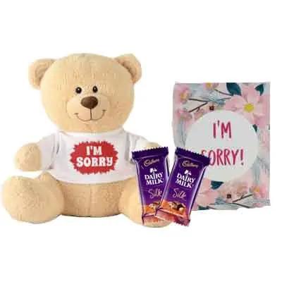 I M Sorry Teddy With Card & Silk