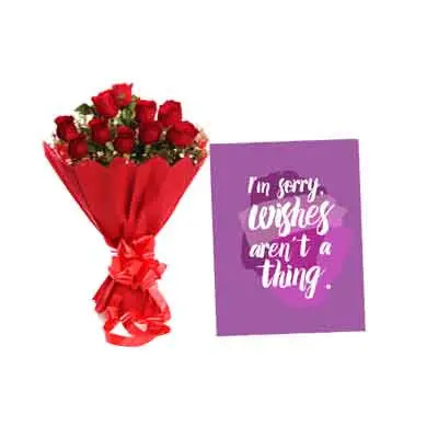 Rose Bouquet With Sorry Card