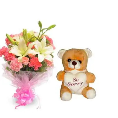 Mix Bouquet with Sorry Teddy