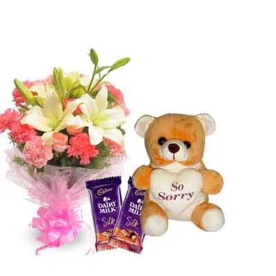 Mix Bouquet with Sorry Teddy & Chocolates