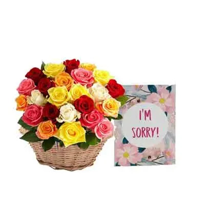 Mix Rose Basket with Sorry Card