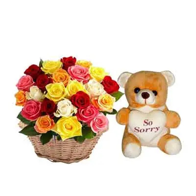 Mix Rose Basket with Sorry Teddy