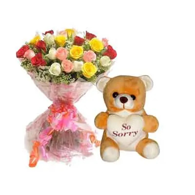 Mix Rose Bouquet with Sorry Teddy