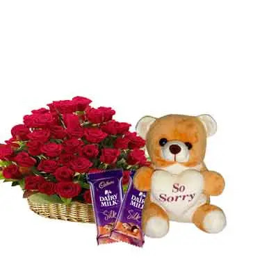 Rose Basket with Sorry Teddy & Chocolates
