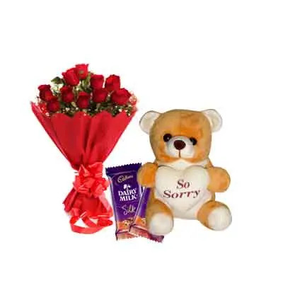 Rose Bouquet with Sorry Teddy & Chocolates