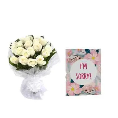 White Rose Bouquet with Sorry Card