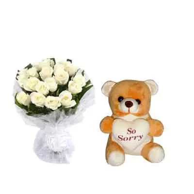 White Rose Bouquet with Sorry Teddy