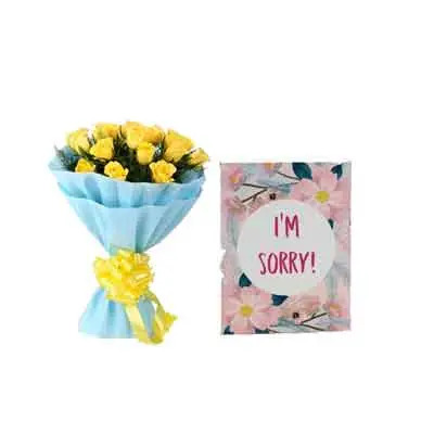Yellow Roses with Sorry Card