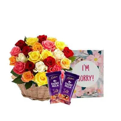 Mix Rose Basket with Sorry Card & Chocolates