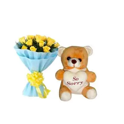 Yellow Roses with Sorry Teddy