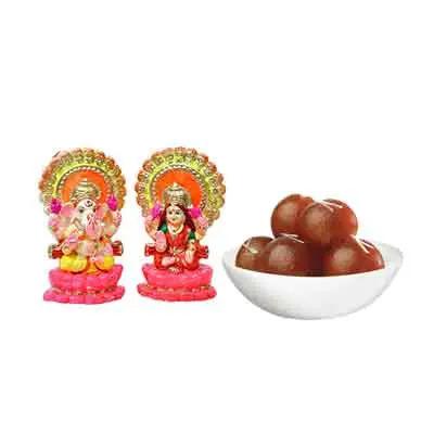 Laxmi Ganesh Idols with Gulab Jamun