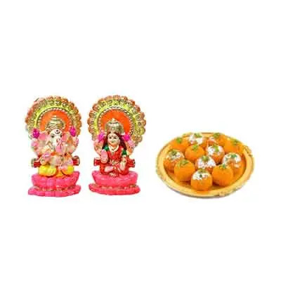 Laxmi Ganesh Idols with Laddu