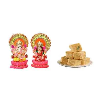 Laxmi Ganesh Idols with Soan Papdi