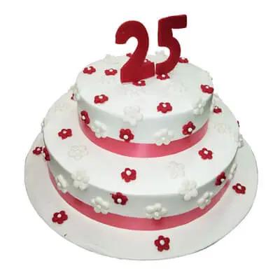25th Anniversary Vanilla Choc Chip Cake