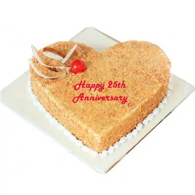 25th Anniversary Butterscotch Heart Cake