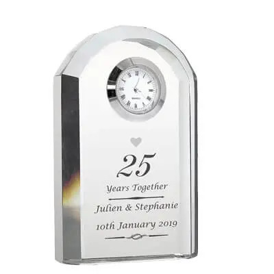 Personalized Silver Wedding Anniversary Clock