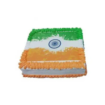 Indian Flag Pineapple Photo Cake