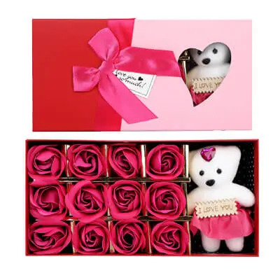 Pink Roses with Teddy Bear Box