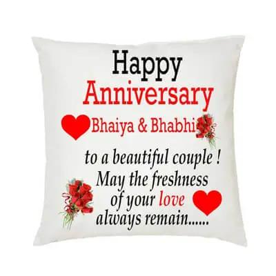 Bhaiya Bhabhi Anniversary Cushion