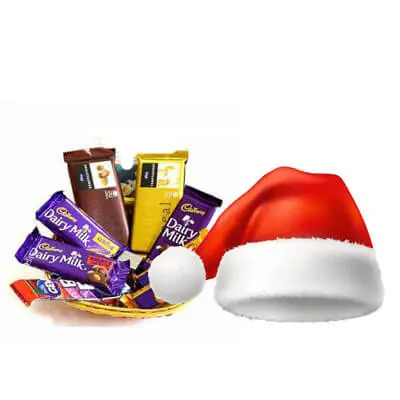 Mixed Chocolate Basket with Santa Cap