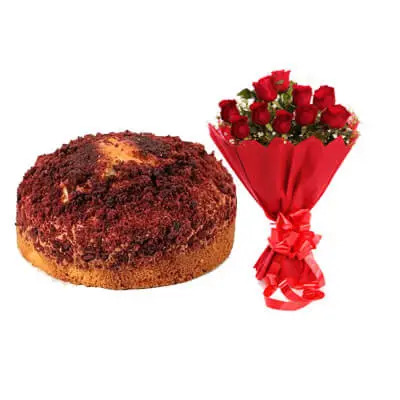 Red Velvet Dry Cake with Bouquet