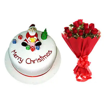 Merry Christmas Cake with Bouquet