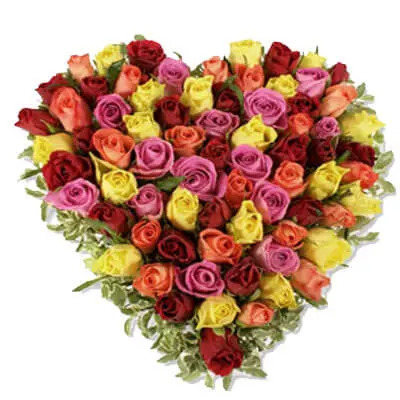 Mixed Roses Heart Shape Arrangement