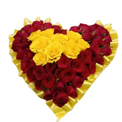 Yellow & Red Roses Heart Shape Arrangement