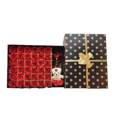 Red Roses with Teddy Bear Big Rectangular Box
