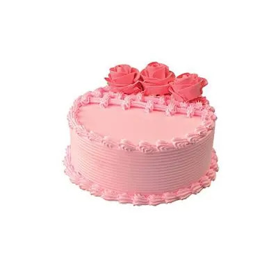 Eggless Strawberry Rose Cake