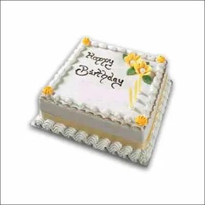 Happy Birthday Vanilla Square Cake