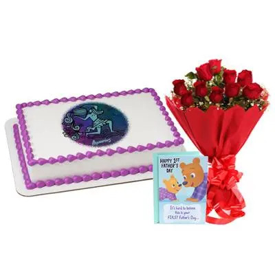 Pineapple Aquarius Cake with Bouquet & Card