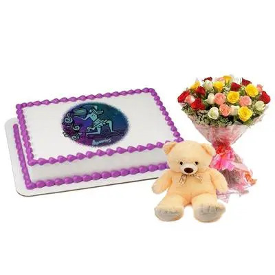 Pineapple Aquarius Cake with Mix Roses & Teddy