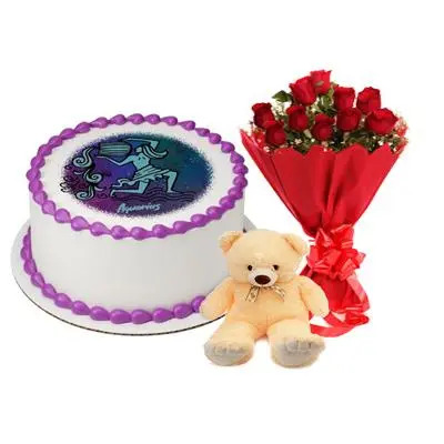 Pineapple Aquarius Round Cake, Roses & Teddy