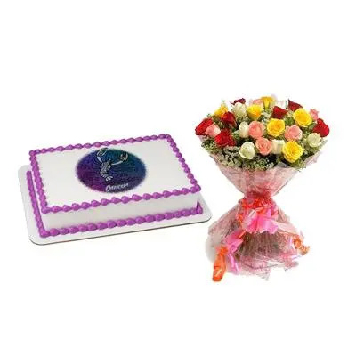 Cake & Bouquet For Cancer Zodiac Sign
