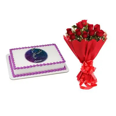 Cake & Roses For Cancer Zodiac Sign