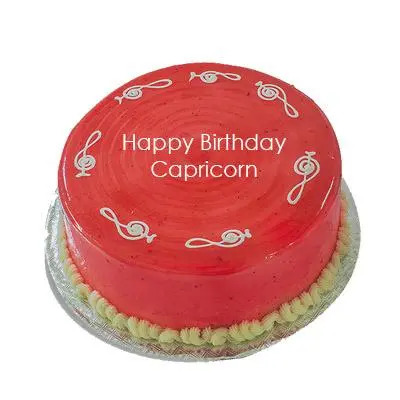 Strawberry Cake For Capricorn Zodiac Sign