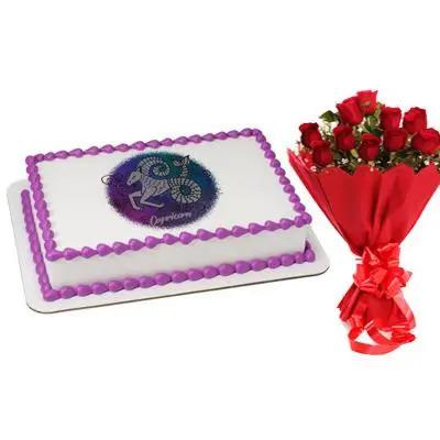 Pineapple Cake & Flowers For Capricorn Zodiac Sign