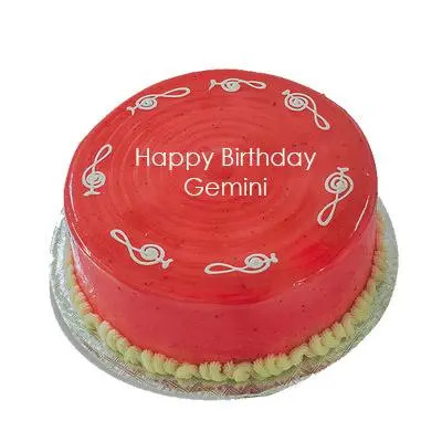 Strawberry Cake For Gemini Zodiac Sign