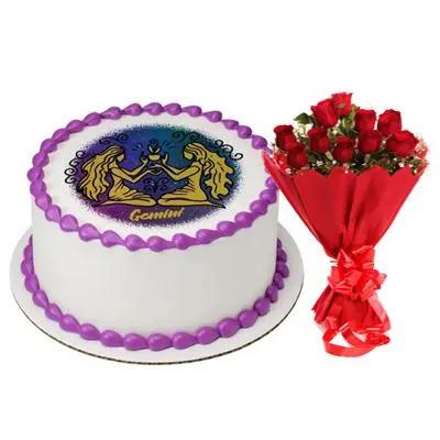 Pineapple Gemini Rectangular Cake with Bouquet