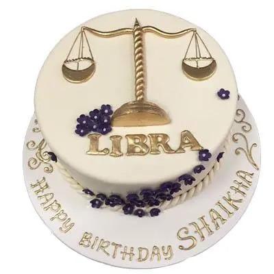 Butterscotch Libra Fondant Cake