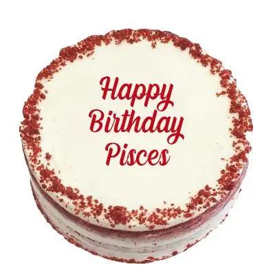 Happy Birthday Pisces Red Velvet Cake