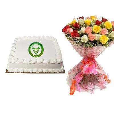 Taurus Square Vanilla Cake with Mix Bouquet
