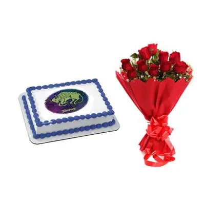 Pineapple Taurus Zodiac Sign Cake & Roses