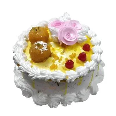 Motichur Laddu Vanilla Cake